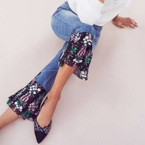 Pilcro and the Letterpress Flare Floral Hem Jeans